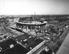 Richmond Coliseum under construction - 1970: Here's another great shot of the Richmond Coliseum under construction. You can see I-64 connecting to I-95 in the background, to give you an idea of the angle. Site's poster thinks all of the buildings you can see in this picture that are within a few blocks of the coliseum are now gone.