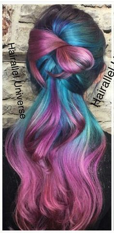 Blue purple dyed hair color