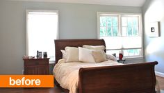 Before & After: Disguising Offset Windows Behind a Bed