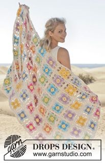 """Crochet DROPS Wittrock's violet blanket with squares in """"Paris"""" - free pattern @ DROPS Design"""
