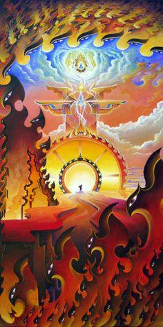 "Evolution I: Leaving Home - 2008 Acrylic/Canvas 32"" x 16"" Michael Divine"