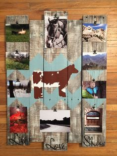 Picture board, show steer, livestock decor, photo memory board, memory board, wood sign, picture frame, reclaimed wood, photo display board by CraftedSimplyInc on Etsy