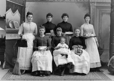 """""""Domestic staff with work utensils,"""" Charles Van Schaick, Black River Falls, 1890  According to historian Genevieve McBride, 81,000 Wisconsin women—ten percent of the state's female population—worked outside the home in 1890. Most were immigrants or the daughters of immigrants who """"worked out,"""" serving as maids, cooks and laundresses for wealthier households.  via: Wisconsin Historical Images WHi-1919, Wisconsin Historical Society;Genevieve McBride, On Wi"""
