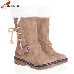 43.14$  Buy here - http://ali7s4.worldwells.pw/go.php?t=32706701128 - Super Warm Non-Slip Snow Boots Added Thick Flocking 2016 Winter Shoes Women Cashmere Lace-Up Breathable Buckle Black 3 Colors
