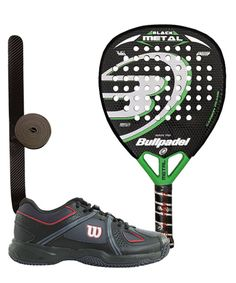 PACK BULLPADEL BLACK METAL Y ZAPATILLAS WILSON NVISION