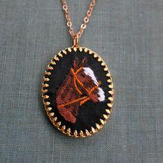 equestrian cameo - cross stitch vintage cameo necklace