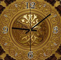 Modern islamic canvas clock wall art Allah Noor
