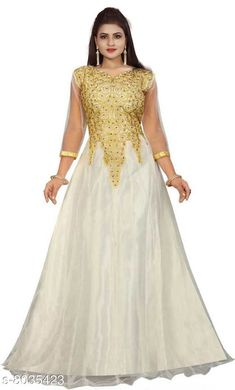 Dresses Women Net Anarkali Gown Fabric: Net Sleeve Length: Three-Quarter Sleeves Pattern: Embroidered Multipack: 1 Sizes: Free Size (Bust Size: 44 in Length Size: 58 in Waist Size: 41 in Hip Size: 48 in Shoulder Size: 16 in) Country of Origin: India Sizes Available: Free Size   Catalog Rating: ★4 (427)  Catalog Name: Women's Net Anarkali Gowns CatalogID_1327538 C79-SC1025 Code: 344-8035423-9991