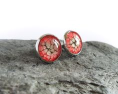 Red black stud earrings handpainted studs minimalistic by BakGuri