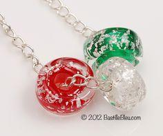 $27  Holiday Glitz Handmade Lampwork Glass Beads BASTILLE BLEU | BastilleBleu - Jewelry Supplies on ArtFire