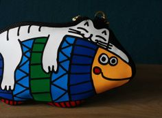Cat on the Fish Leather Purse by krukrustudio on Etsy, $120.00