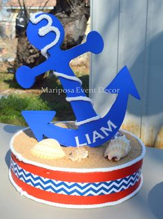 this centerpiece at a Nautical Birthday Party! See more party ideas at ! Anchor Birthday, Baby Birthday, First Birthday Parties, First Birthdays, Birthday Ideas, Nautical Cake, Nautical Party, Nautical Centerpiece, Boy Baby Shower Themes