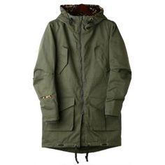 TOKIO  Leopard Print-Trim Hooded Long Jacket