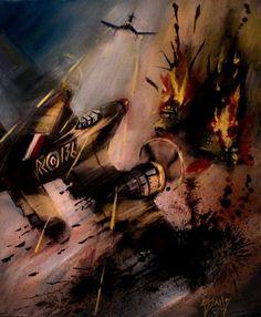 WW2 AVIATION RAF WEHRMACHT GROUND ATTACK ORIGINAL OIL PAINTING BLACKSUN13R