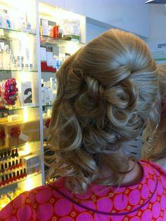 half up half down curls x