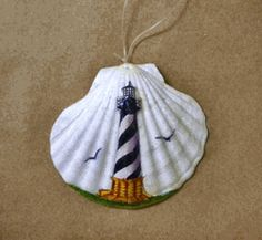 Lighthouse Painted Clam Shell Ornament #14315