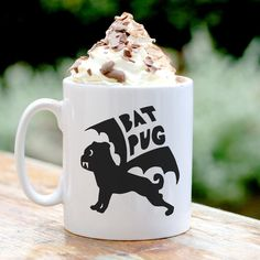 Bat Pug Personalised Mug - halloween gift - pug gifts - bat gifts - alternative halloween gifts -