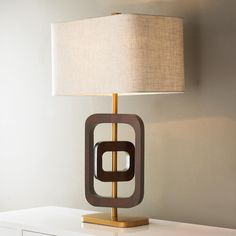 Two Ring Wood Table Lamp
