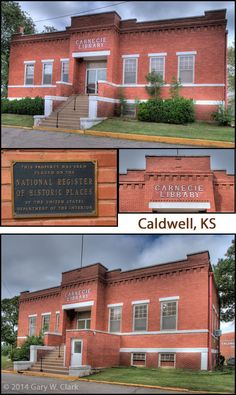 A simple yet unique design, front and back are nearly symmetrical with an entrance on each.Vacant, it belongs to the school district, but it would be costly to bring up to access codes. No plans for it at this time.  FACTS: Caldwell, Kansas (Sumner County) Built: 1910; Grant: $7,000; GPS: Latitude:   37.033025°; Longitude: 97.609761° Carnegie Library, Historical Pictures, School District, Ufo, Libraries, Kansas, Entrance, Facts, Vacation