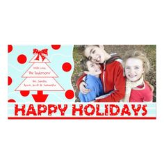 J1 Happy Holiday Polka Red Christmas Photo Card  Click on photo to purchase. Check out all current coupon offers and save!  http://www.zazzle.com/coupons?rf=238785193994622463&tc=pin #cards #holidays #christmas  #christmascards #photos #photocards #believe #greetings #holidaycards  #xmas #xmascards #greetingcards #personalized #customized