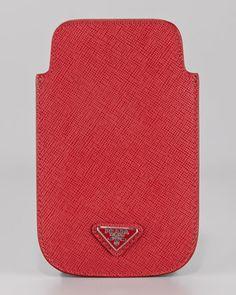 Saffiano iPhone 4 Case by Prada at Neiman Marcus. Tech Accessories, Fashion Accessories, Iphone 4, Iphone Cases, Triangle Logo, Prada Saffiano, Miuccia Prada, Miu Miu, Neiman Marcus