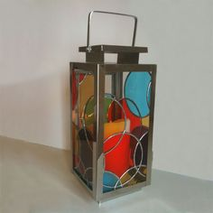'Circles' Stained glass lantern. - by Smash Glassworks