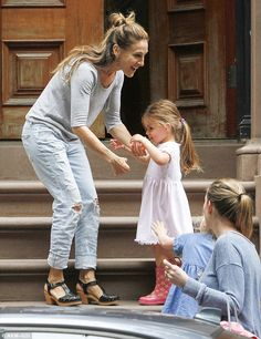 Sarah Jessica Parker styles twin daughters in pretty spring dresses #dailymail