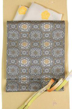 【となみ織物】謹製西陣織袋帯となみ帯経錦織蜀江文/グレー地六通柄名物裂文様