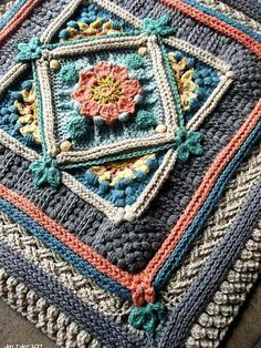 The Riebeek-Kasteel Weekend Block is another in a series of large floral-themed, super-textured crochet blocks inspired by my beloved country, South Africa. This pattern includes a square frontispiece and an square. Crochet Square Blanket, Crochet Squares Afghan, Crochet Blocks, Granny Square Crochet Pattern, Crochet Stitches Patterns, Crochet Motif, Crochet Designs, Knitting Patterns, Crochet Borders