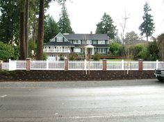 brick posts with white fence - Google Search