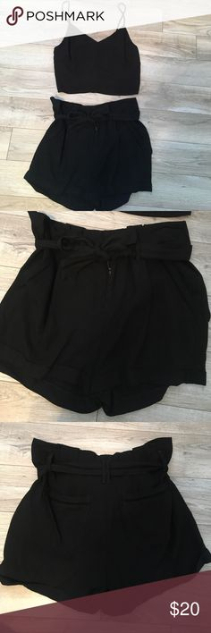 Soprano and Jolt Shorts and Shirt Set Black shorts and shirt set. Shorts have a belt with two pockets in the back and two on the side in the front. Shirt is spaghetti strapped. Shorts are a size 27 and the shirt is a size medium. Never been worn and in great condition! Soprano Shorts