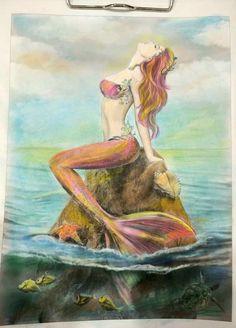 Mermaid Artwork, Mermaid Drawings, Mermaid Tattoos, Mermaid Paintings, Fantasy Mermaids, Mermaids And Mermen, Mermaid Coloring Book, Mermaid Pictures, Mermaid Images