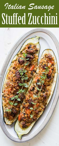 Stuffed Zucchini is a great way to use up those extra large zucchini from the garden Stuff with Italian sausage onions garlic tomato and fresh breadcrumbs and bake Large Zucchini Recipes, Veggie Recipes, Low Carb Recipes, Cooking Recipes, Healthy Recipes, Clean Recipes, Healthy Eats, Delicious Recipes, Easy Recipes