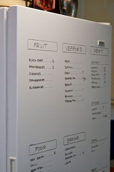 Inventory of the freezer's contents are written on the door, using a dry erase marker.This is brilliant!
