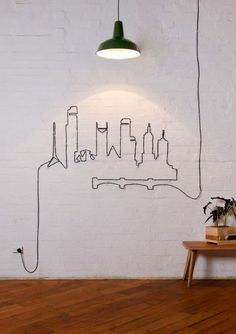 Funny pictures about Who Says You Have To Hide Cables. Oh, and cool pics about Who Says You Have To Hide Cables. Also, Who Says You Have To Hide Cables photos. Diy Wand, Diy Wall Decor, Diy Home Decor, Wall Decorations, Bedroom Decor, Decoration Crafts, Bedroom Wall, Art Decor, Interior And Exterior