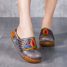 SOCOFY Colorful Pattern Hollow Out Bakcless Slip On Flower Shoes