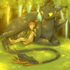 Cute Hiccup and Tothless moment Found on deviantART: More Like Rise of the Brave Tangled Dragons by ~carmalarma