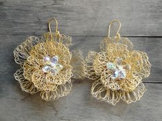 bridal earrings gold plated wire crochet flower by katerinaki1977, $39.00