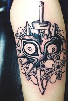 My Majora's Mask tattoo done by Nikki Snyder at Folk City. #majorasmask #zelda #tattoo