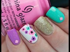 Bright Summer Nails with Floral Accent nail art by Paulina's Passions Great Nails, Fabulous Nails, Gorgeous Nails, Cute Nails, Fancy Nails, Diy Nails, Nail Art Designs, Nail Design, Bright Summer Nails