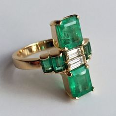 4.24ct Natural Fine Colombian Emerald & Diamond Art Deco Style Ring 18K Gold