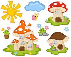 Cute Fairy Tail Mushroom Houses Clip Art Sun Cloud by YarkoDesign