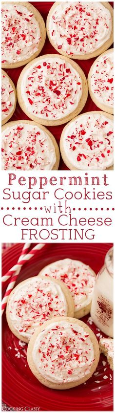 Peppermint Sugar Cookies with Cream Cheese Frosting- these cookies are SO DELICIOUS!! Lofthouse style melt-in-your-mouth and perfect for a Christmas Cookie exchange.