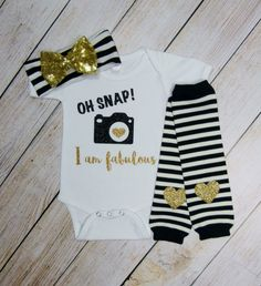 Baby Girl Clothes Black Gold Glitter Oh Snap I Am Fabulous Knotted Gold Bow Headband Gold Heart Leg Warmers Baby Girl Outfit Funny Baby Gift by mamabijou on Etsy https://www.etsy.com/listing/247653419/baby-girl-clothes-black-gold-glitter-oh