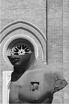 Scultura di Igor Mitoraj posta davanti la chiesa di Santa Maria del Carmine, Milano.