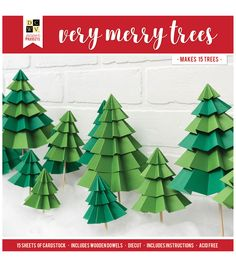 Create a forest of Very Merry Trees with this Christmas Paper Projects Set from Die Cuts with a View. The package includes 15 sheets of die cut cardstock, wooden dowels and instructions, which will create 15 decorative trees. Christmas Paper Crafts, Paper Crafts For Kids, Christmas Projects, Diy Paper, Holiday Crafts, Fun Crafts, Christmas Crafts, Paper Crafting, Office Christmas Decorations