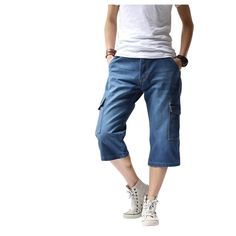 Fabric Material:   Cotton   Closure Type:   Zipper Fly   Decoration: Pockets, Buttons     Style: Vintage, Cargo Shorts  Thickness:   Standard Fit Type: Loose Fit    Color:   Light Blue, Dark Blue     Occasion:   Casual, Fashion,                  Sport, Beach   Season:   Spring, Summer   Tag Size: 30, 32, 34, 36, 38, 40     Package included:   1*Shorts ( No Belt )        Please Note:                1.Please see the Size Reference to find the correct size.