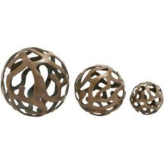 Woodland Imports 3 Piece Aluminum Decorative Ball Sculpture Set Finish: Bronze