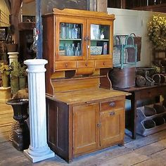 Antique Primitive Kitchen Grain Painted Hoosier Cabinet - 1900s-1920s