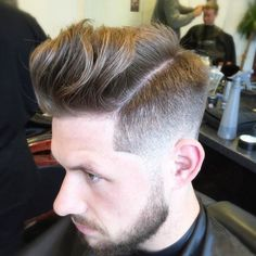 menspiresalon high fade loose fringe on top